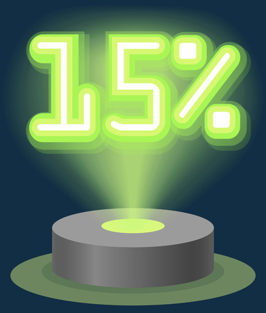 Green Neon Light Discount Sale 15 Percent. Hologram Cyber Monday Sign Vector illustration