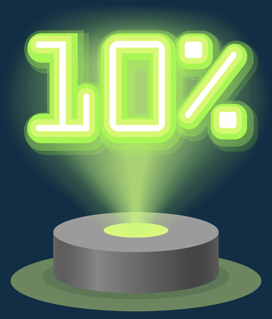 Green Neon Light Discount Sale 10 Percent. Hologram Cyber Monday Sign Vector illustration