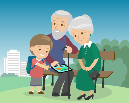 Flat style social media communications. Man woman senior couple grandparents make video call with tablet. Grandson teaching elders to work with gadget. Vector