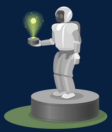 Robot on Pedestal with hologram atom structure on his hand. Vector Illustration