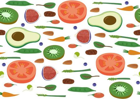 Superfood Vegan Eco Organic Raw Vegetables and Fruits Seamless horizontal Pattern. Flat Vector Vegetarian