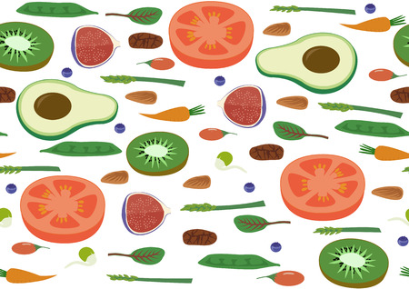 Superfood Vegan Eco Organic Raw Vegetables and Fruits Seamless horizontal Pattern. Flat Vector Vegetarian