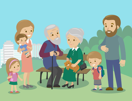 father and child: Big family charackters with mother father grandmother grandfather kids baby child set. Vector illustration. Familiar meeting in the park Illustration