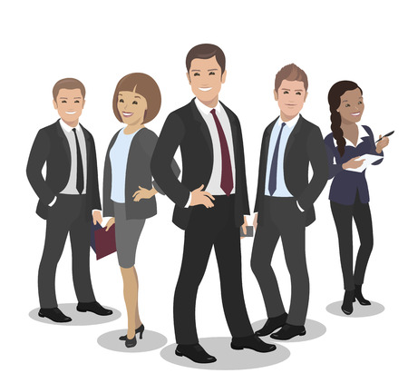 formal dress: Business People Group Standing Team Vector Illustration. Handsome Boss, Pretty African American Businesswoman in Formal Dress Illustration