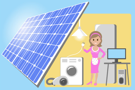 Happy young woman standing among the household appliances. Housewife in house powered by solar panels electricity. Vector flat design illustration.
