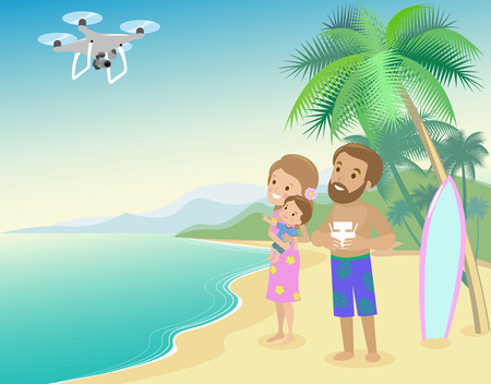 Family woman man mother father and kid child son on seashore with palm and serfboard vacation launch drone quadrocopter to take photo of video from holidays vector art.