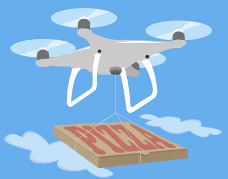 quad: Gray drone quadcopter fly in blue sky. Pizza delivery quad isolated icon. Spy photo videography. Innovation technology camera vector illustration.