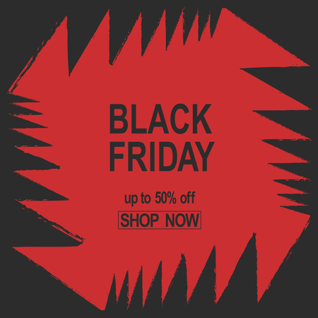 jaws: Grunge Black Friday. Sale banner red color angles bright jaws teeth abstract vector illustration. Illustration