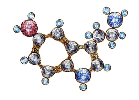 Golden Serotonin Molecule Molecular Structure With Shining Gemstones. Hand Drawn Oil on Canvas Art. Chemistry Science illustration on White Background