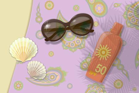 Beach travel to sea. Sunblock shells sunglasses. Vektor. Illustration Illustration