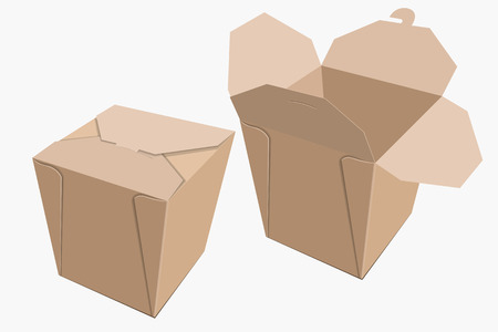 chinese food container: Beige paper container of Chinese food. Storage Box delivery. Vector illustration