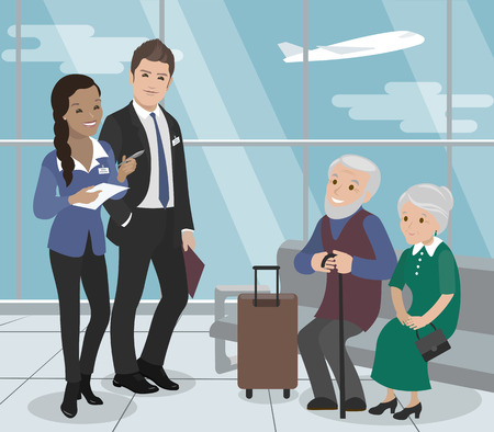 Helping the elderly during the flight. Airport Service. Vector illustration Illustration