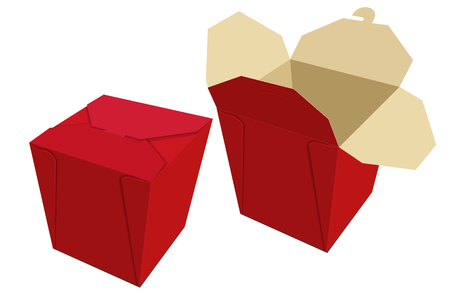 food storage: Beige red paper container of Chinese food. Storage Box delivery. Vector illustration