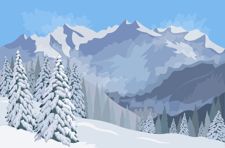 Winter mountain landscape. Firs in the snow. Vector illustration Illustration