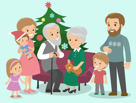 Big family celebrates Christmas. Fancy tree. Vector illustration