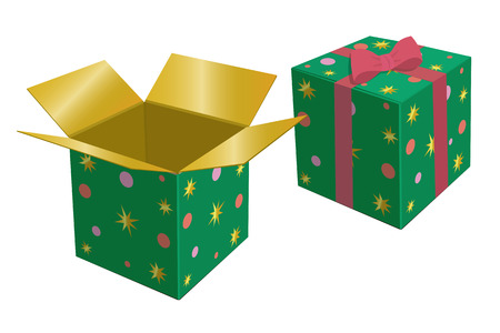 red gift box: Green gift box. Red bow. Vector illustration