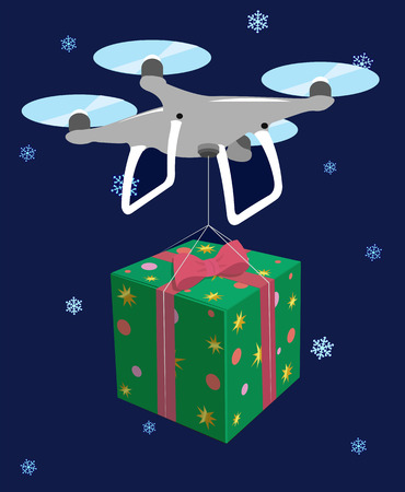 Drone delivers gift. Green box red bow. Vector illustration Illustration