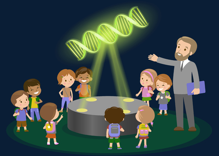 Innovation education elementary school learning technology and people concept - group of kids looking tomolecule of DNA. hologram on biology lesson future museum center vector