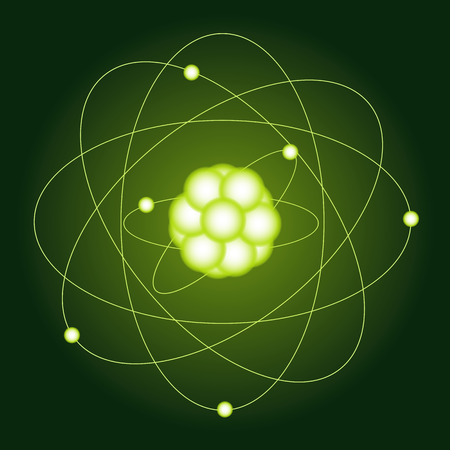 isotope: Model carbon atoms. The physical character. Vector illustration