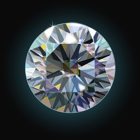 The sparkling diamond on a black background faceted crystal. Vector