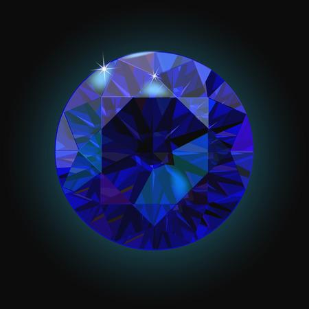 stetting: Sparkling sapphire on black background. Dark blue crystal. Vector