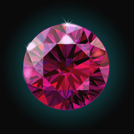 Brilliant ruby on black background. Red Crystal. Vector