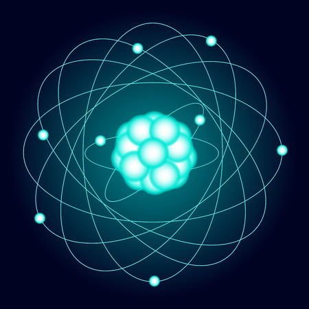 Illuminated model of an oxygen atom on a dark background. Vector