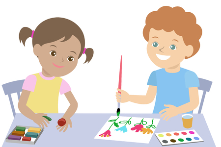 Small children draw paint and mold from plasticine. Vector