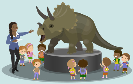 paleontological: Students in the paleontological museum looking at dinosaur. Vector illustration