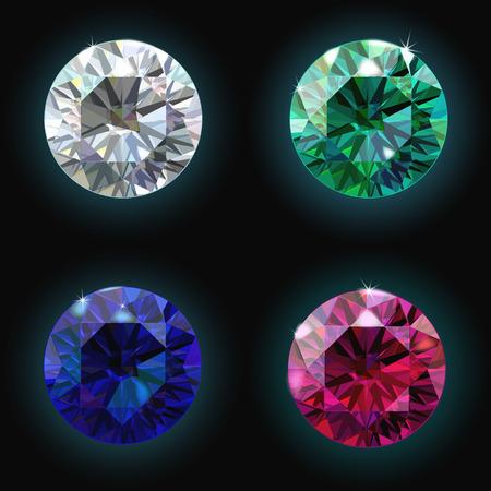 ruby: Set ruby sapphire emerald diamond. Vector illustration Illustration