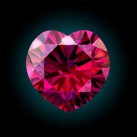 crystal heart: Ruby heart for Valentine s Day. red crystal. Vector illustration