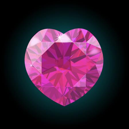 Heart of pink diamonds. Valentine s Day. Vector illustration