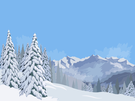 snowy mountains: Winter mountain landscape fir snow vacation vacations background blue sky vector illustration