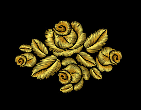 Golden roses embroidery fashion hand drawn illustration gold flower vector patch traditional background decoration ornament