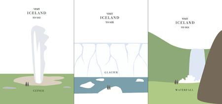 Geyser glacier waterfall simple cartoon design vector illustration Iceland invitation