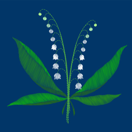 The composition of white lilies of the valley green leaves of spring flowers beautiful embroidery on a blue background vector illustration Illustration