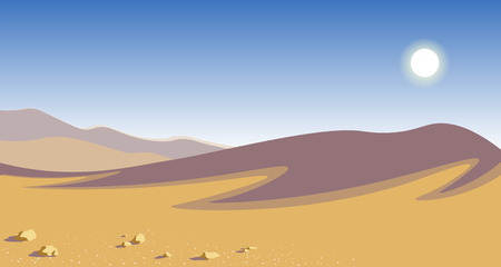 The hot desert. yellow sand dunes blue sky scorching sun natural ladshaft vector illustration