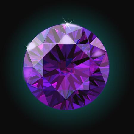 amethyst: Brilliant Amethyst purple crystal gem sparkles black background vector illustration