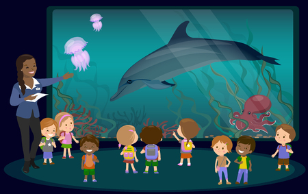 oceanarium: Children on an excursion to the aquarium. the teacher tells students about the underwater world and marine animals dolphin jellyfish octopus coral algae. vector illustration