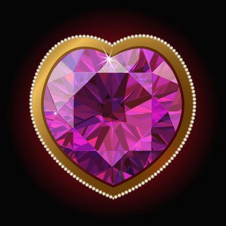 coeur diamant: coeur en diamant rose dans un cadre d'or