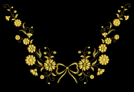 garden cornflowers: Embroidery flower necklace traditional ornament decoration field rustic cornflowers daisy marigold strawberries butterfly design vector illustration vintage retro style bow gold