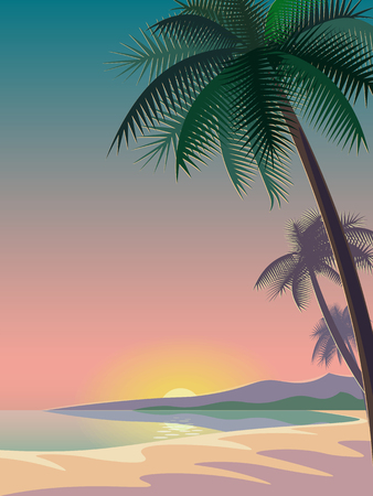 sunset beach: Bright sunset over the sea. deep night sky. palm trees on the beach. mountains in the distance. vector illustration