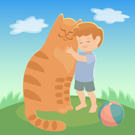 amigos abrazandose: Red Boy and cat cuddling they are friends. blue sky. green meadow. favorite pets. vector illustration