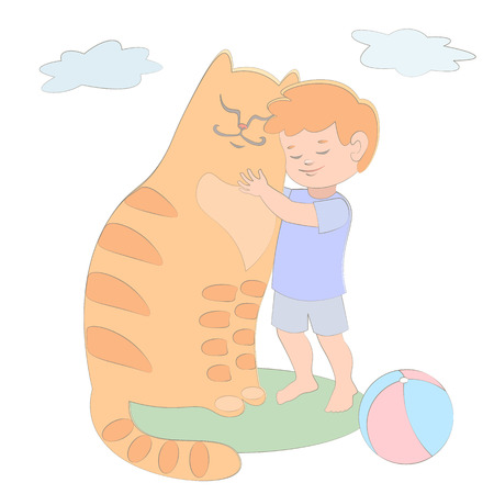 amigos abrazandose: Red Boy and cat cuddling they are friends. blue. green meadow. favorite pets. vector illustration ball