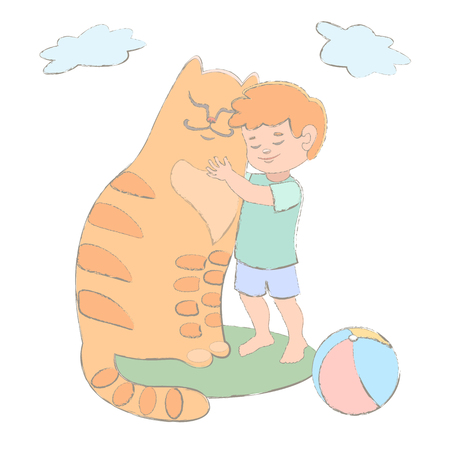 amigos abrazandose: Red Boy and cat cuddling they are friends. blue sky. green meadow. favorite pets. vector illustration clouds