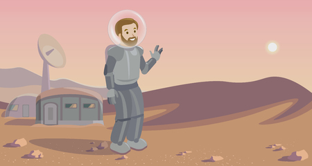 colonizer: Space colonization panorama. Colony on other planet. Rounded lineart. astronaut on Mars.