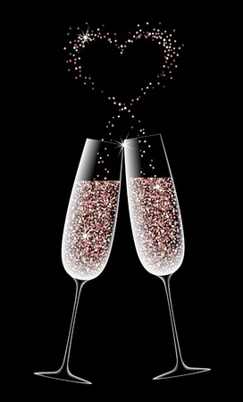 Two glasses of sparkling champagne on a black background. pink gold. shining heart. symbol romantic dinner. vector illustration Illustration