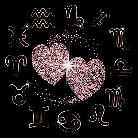 Liebeshoroskop für alle Sternzeichen. zwei rosa funkelnde Goldherzen auf einem schwarzen Hintergrund. glänzende Symbole. Sterne. Vektor-Illustration Standard-Bild - 70919673