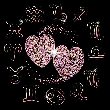 Love Horoscope for all zodiac signs. two pink sparkling gold hearts on a black background. shiny symbols. stars. vector illustration