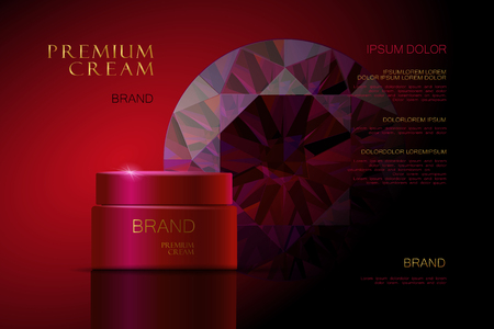 glowing skin: 3d realistic vector background cosmetic ads Premium Cream. red packaging for cosmetics. skin care. vector illustration
